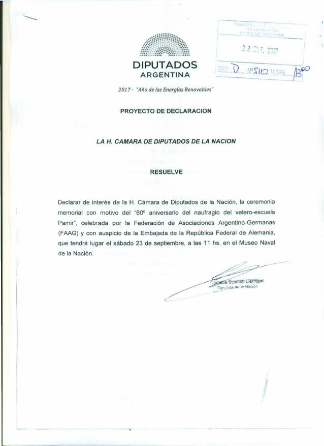 """>' --- 2 """"'r .•, """" .~,,~ . DIPUTADOS ARGENTINA 2017 - """"Año de las Energías Renovables"""" PROYECTO DE DECLARACION LA H. CAMAR..."""