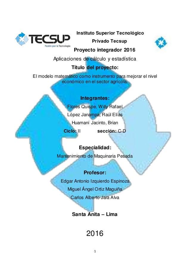 1 Instituto Superior Tecnológico Privado Tecsup Proyecto integrador 2016 Aplicaciones de cálculo y estadística Título del ...