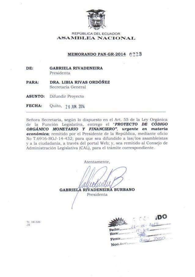 """_i -lrt""""nL OficioNo. T.5916- SGJ-14-,132 Quito,25 dejuniode2014 Gabriela Rivadeneira Blrbdo PRDSIDENTA Dtr t-T .SAMBLDA NA..."""