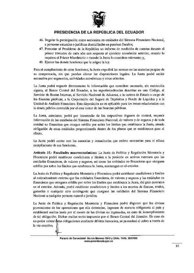 Proyecto de Ley C243digo Org225nico Monetario y Financiero