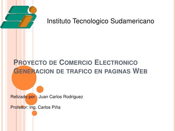 InstitutoTecnologicoSudamericano<br />Proyecto de ComercioElectronicoGeneracion de trafico en paginas Web<br />Relizadopor...