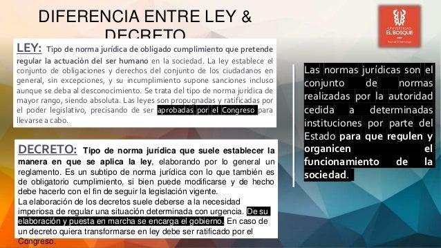 DIFERENCIA ENTRE LEY & DECRETO Las normas jurídicas son el conjunto de normas realizadas por la autoridad cedida a determi...