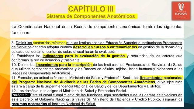 La Coordinación Nacional de la Redes de componentes anatómicos tendrá las siguientes funciones: CAPÍTULO III Sistema d...