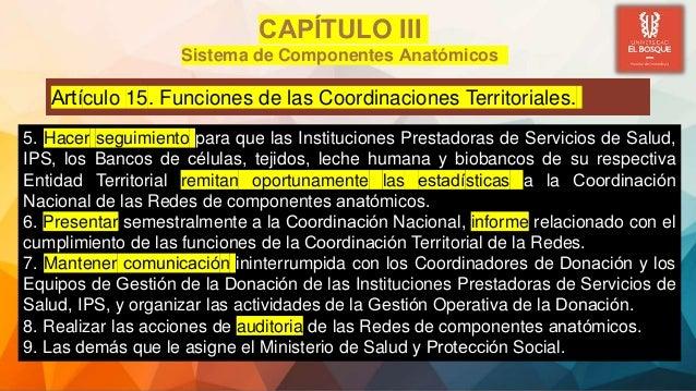 Artículo 15. Funciones de las Coordinaciones Territoriales. CAPÍTULO III Sistema de Componentes Anatómicos 5. Hacer seg...