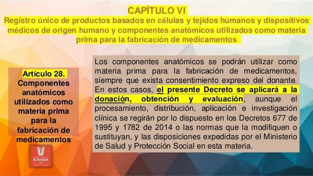 CAPÍTULO VI Registro único de productos basados en células y tejidos humanos y dispositivos médicos de origen humano y...