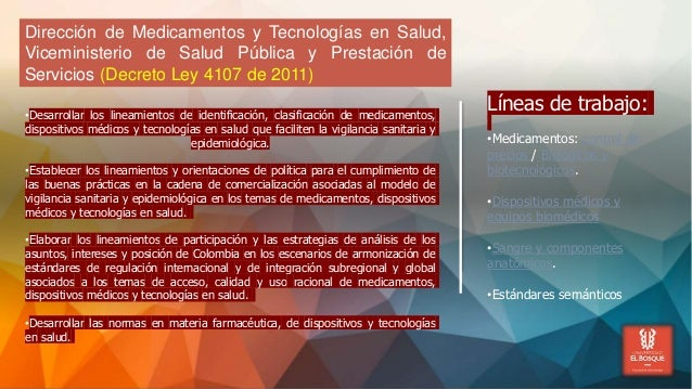 Dirección de Medicamentos y Tecnologías en Salud, Viceministerio de Salud Pública y Prestación de Servicios (Decreto Ley 4...