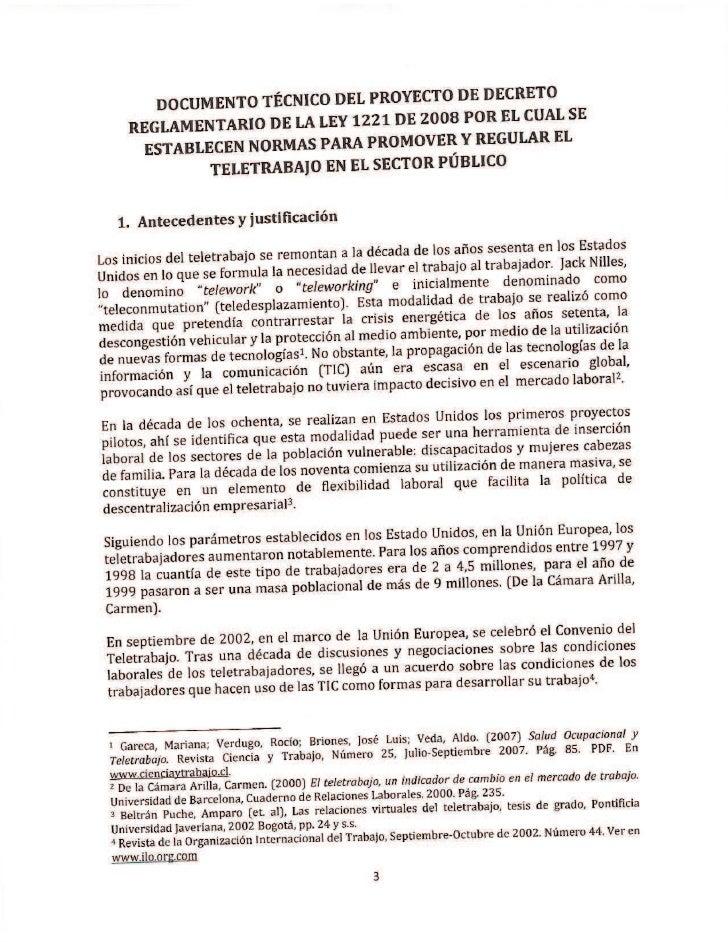 Proyecto de decreto de Teletrabajo
