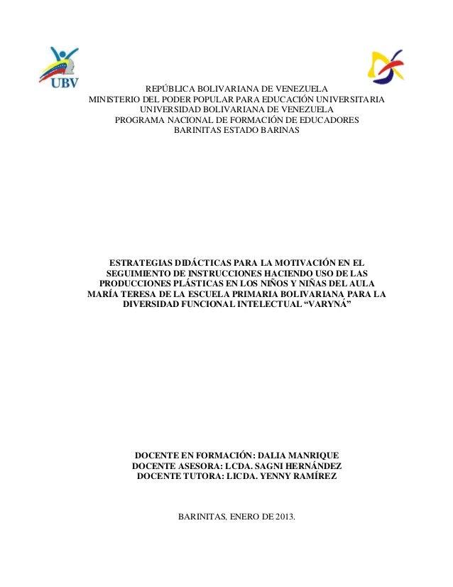 REPÚBLICA BOLIVARIANA DE VENEZUELAMINISTERIO DEL PODER POPULAR PARA EDUCACIÓN UNIVERSITARIA          UNIVERSIDAD BOLIVARIA...