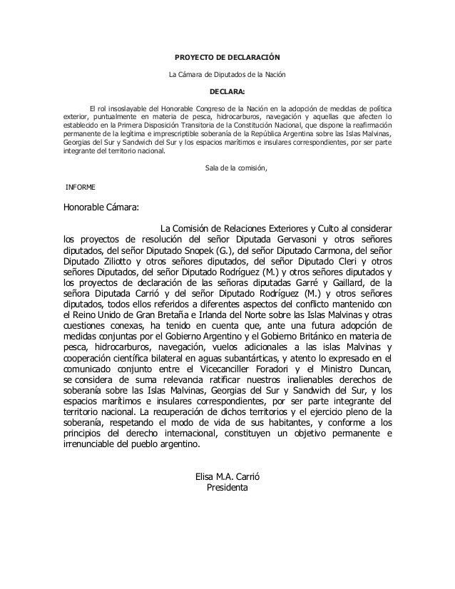 PROYECTO DE DECLARACIÓN La Cámara de Diputados de la Nación DECLARA: El rol insoslayable del Honorable Congreso de la Naci...