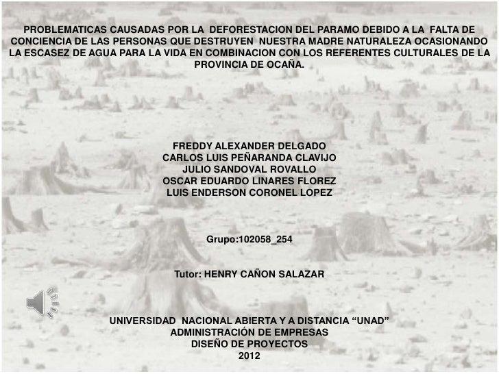PROBLEMATICAS CAUSADAS POR LA DEFORESTACION DEL PARAMO DEBIDO A LA FALTA DE   PROBLEMATICAS CAUSADAS POR LA DEFORESTACION ...