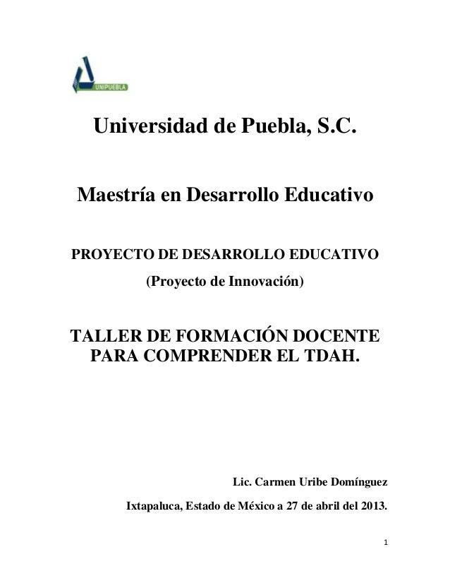 1Universidad de Puebla, S.C.Maestría en Desarrollo EducativoPROYECTO DE DESARROLLO EDUCATIVO(Proyecto de Innovación)TALLER...