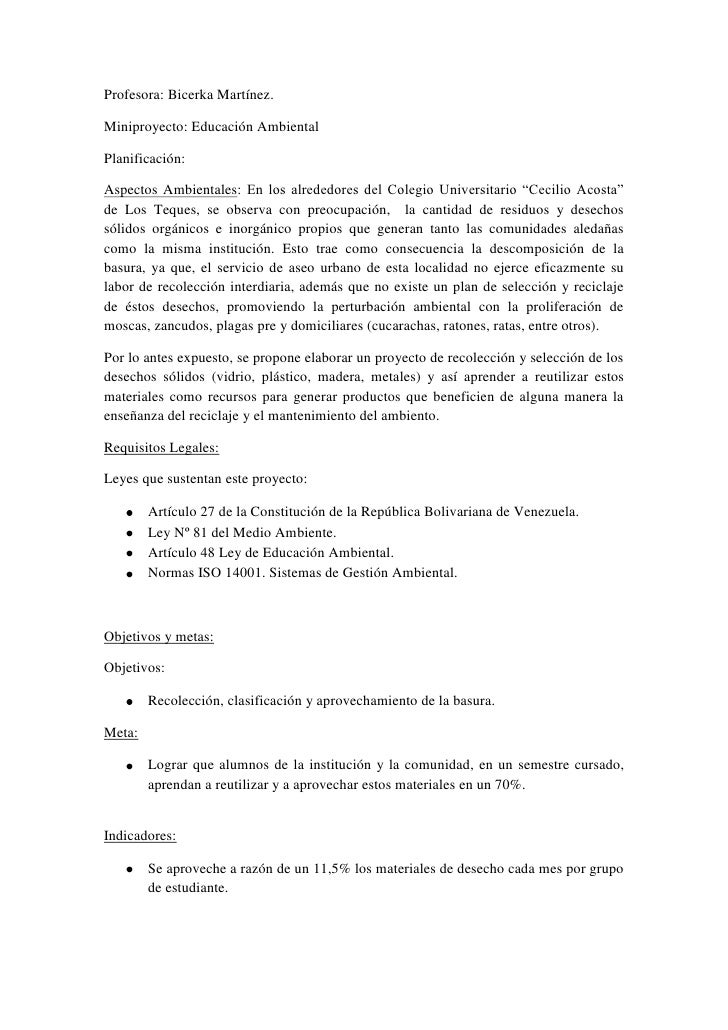 Profesora: Bicerka Martínez.Miniproyecto: Educación AmbientalPlanificación:Aspectos Ambientales: En los alrededores del Co...