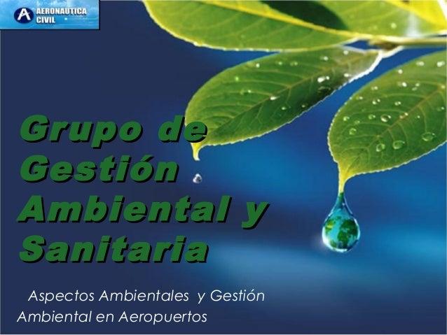 Grupo deGrupo de GestiónGestión Ambiental yAmbiental y SanitariaSanitaria Aspectos Ambientales y Gestión Ambiental en Aero...