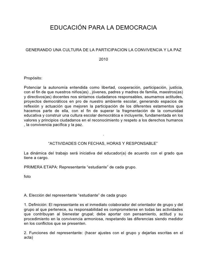 EDUCACIÓN PARA LA DEMOCRACIAGENERANDO UNA CULTURA DE LA PARTICIPACION LA CONVIVENCIA Y LA PAZ                             ...