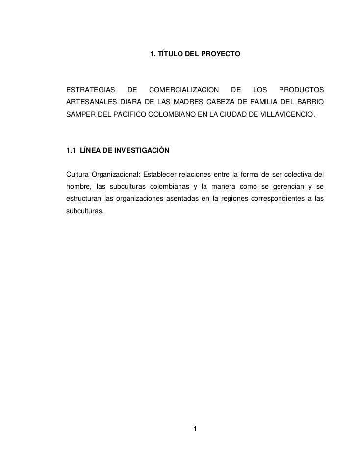 1. TÍTULO DEL PROYECTOESTRATEGIAS        DE     COMERCIALIZACION         DE     LOS     PRODUCTOSARTESANALES DIARA DE LAS ...