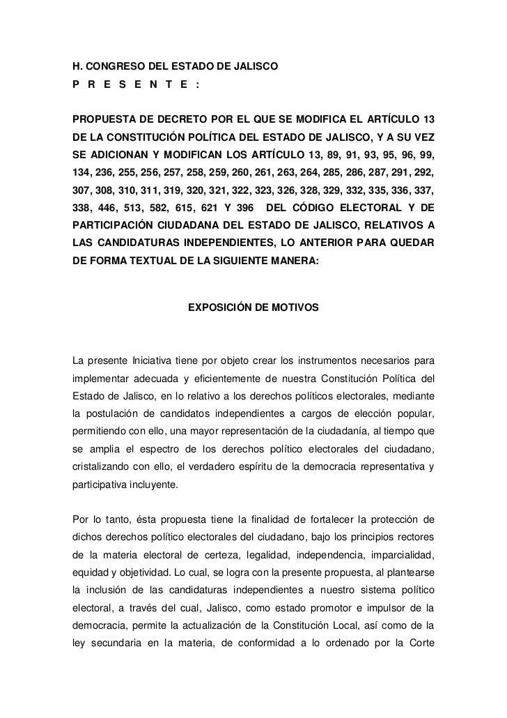 H. CONGRESO DEL ESTADO DE JALISCO<br />P   R   E   S   E   N   T   E   :<br />PROPUESTA DE DECRETO POR EL QUE SE MODIFICA ...