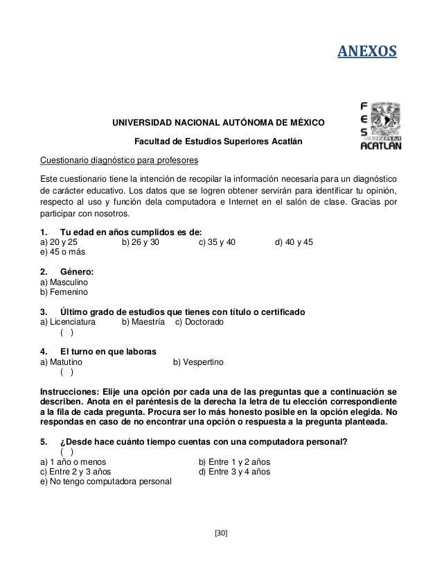ANEXOS                   UNIVERSIDAD NACIONAL AUTÓNOMA DE MÉXICO                        Facultad de Estudios Superiores Ac...