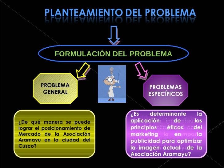 FORMULACIÓN DEL PROBLEMA PROBLEMA GENERAL ¿De qué manera se puede lograr el posicionamiento de Mercado de la Asociación Ar...