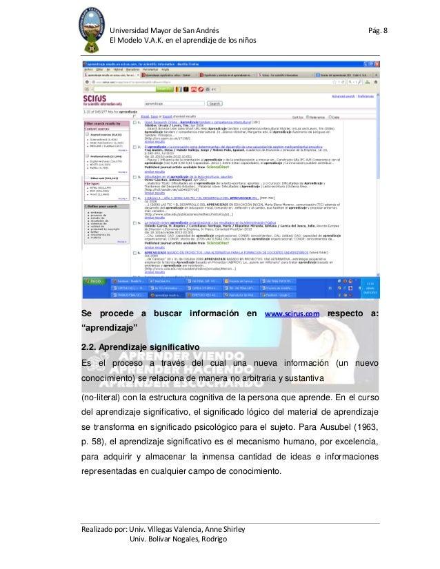 Universidad Mayor de San Andrés Pág. 8 El Modelo V.A.K. en el aprendizje de los niños Realizado por: Univ. Villegas Valenc...