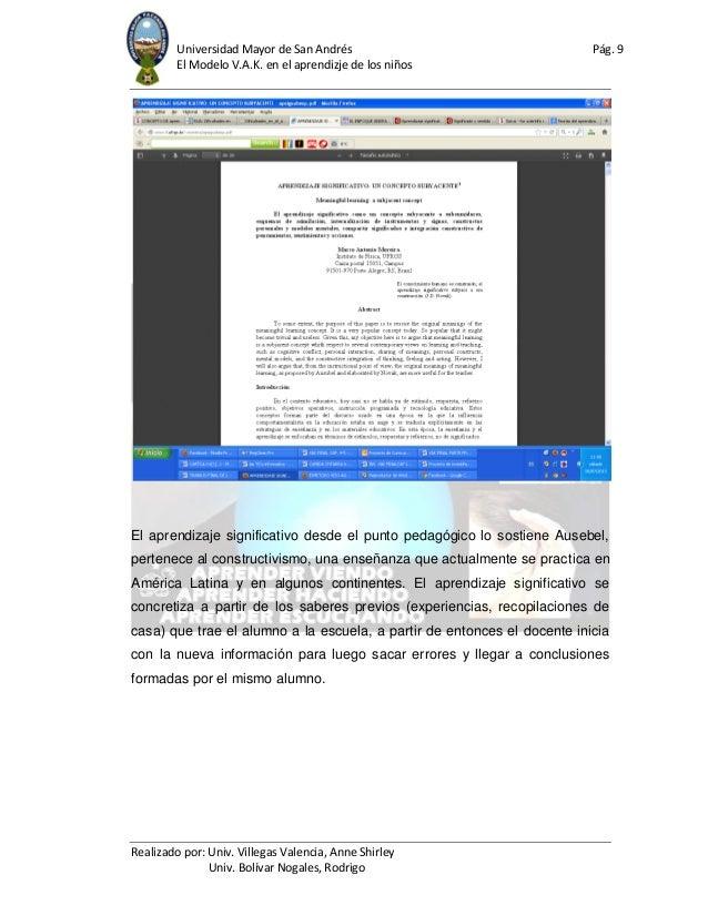 Universidad Mayor de San Andrés Pág. 9 El Modelo V.A.K. en el aprendizje de los niños Realizado por: Univ. Villegas Valenc...