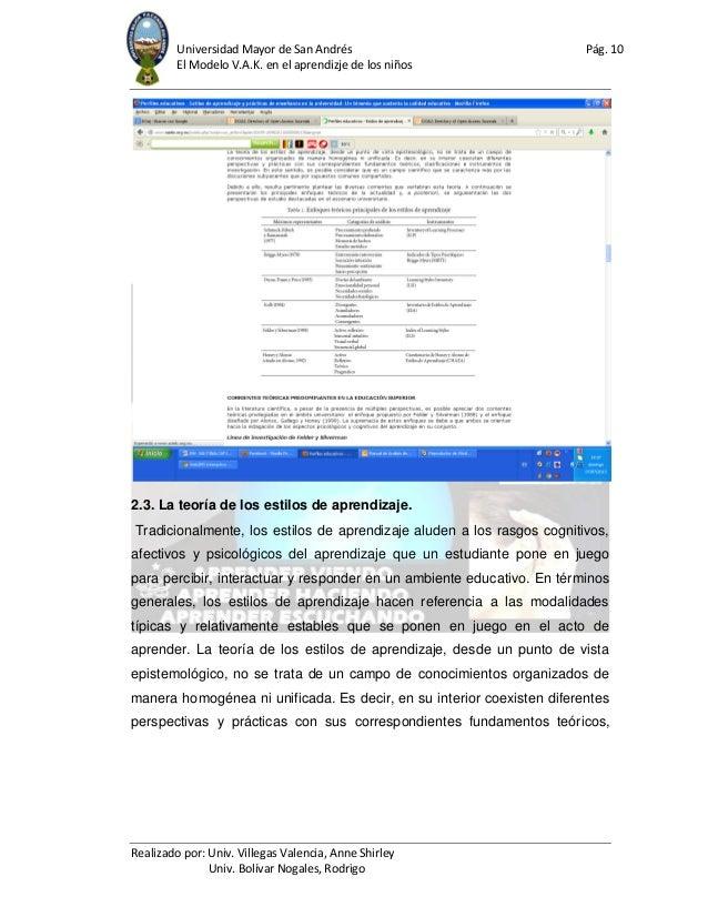 Universidad Mayor de San Andrés Pág. 10 El Modelo V.A.K. en el aprendizje de los niños Realizado por: Univ. Villegas Valen...