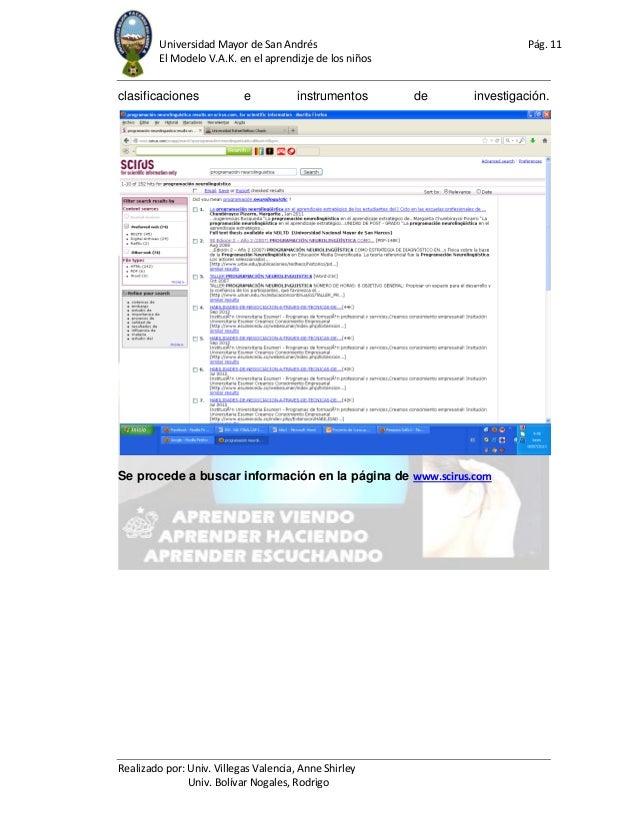 Universidad Mayor de San Andrés Pág. 11 El Modelo V.A.K. en el aprendizje de los niños Realizado por: Univ. Villegas Valen...
