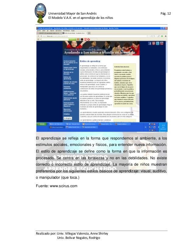 Universidad Mayor de San Andrés Pág. 12 El Modelo V.A.K. en el aprendizje de los niños Realizado por: Univ. Villegas Valen...