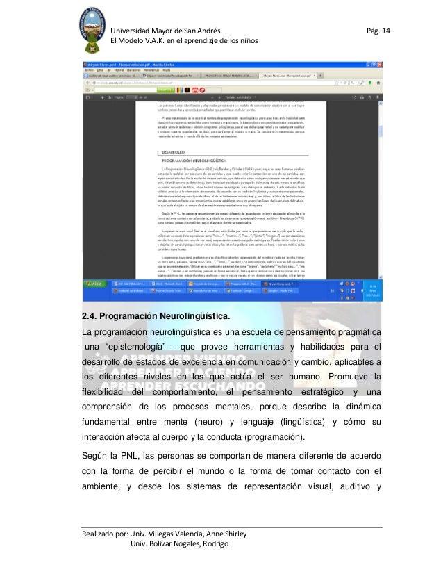 Universidad Mayor de San Andrés Pág. 14 El Modelo V.A.K. en el aprendizje de los niños Realizado por: Univ. Villegas Valen...