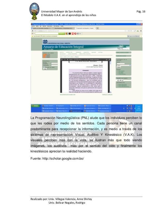 Universidad Mayor de San Andrés Pág. 16 El Modelo V.A.K. en el aprendizje de los niños Realizado por: Univ. Villegas Valen...