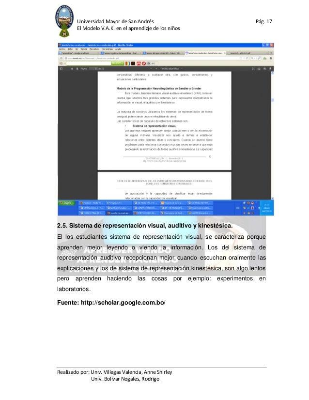 Universidad Mayor de San Andrés Pág. 17 El Modelo V.A.K. en el aprendizje de los niños Realizado por: Univ. Villegas Valen...