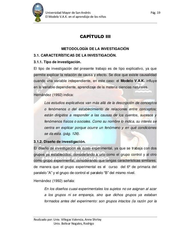 Universidad Mayor de San Andrés Pág. 19 El Modelo V.A.K. en el aprendizje de los niños Realizado por: Univ. Villegas Valen...