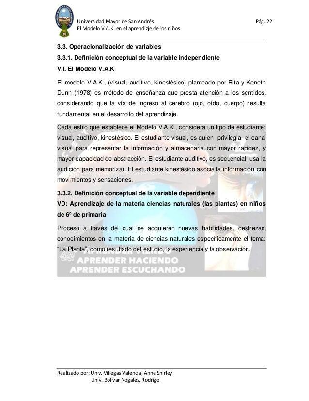 Universidad Mayor de San Andrés Pág. 22 El Modelo V.A.K. en el aprendizje de los niños Realizado por: Univ. Villegas Valen...