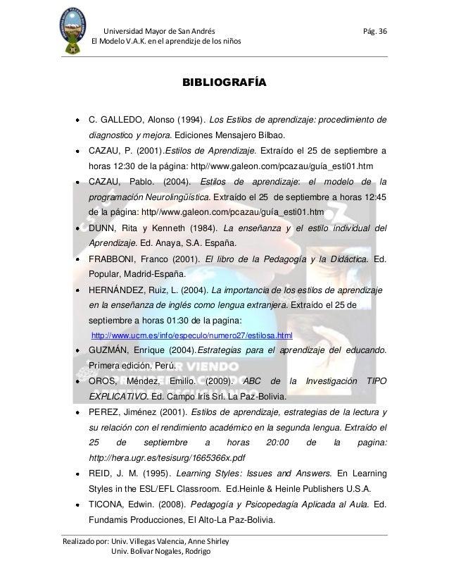 Universidad Mayor de San Andrés Pág. 36 El Modelo V.A.K. en el aprendizje de los niños Realizado por: Univ. Villegas Valen...
