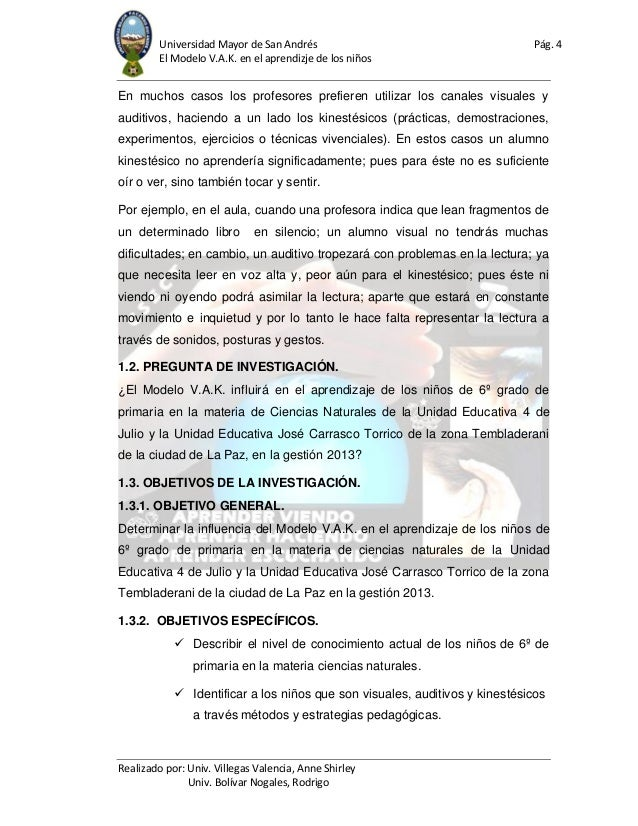 Universidad Mayor de San Andrés Pág. 4 El Modelo V.A.K. en el aprendizje de los niños Realizado por: Univ. Villegas Valenc...