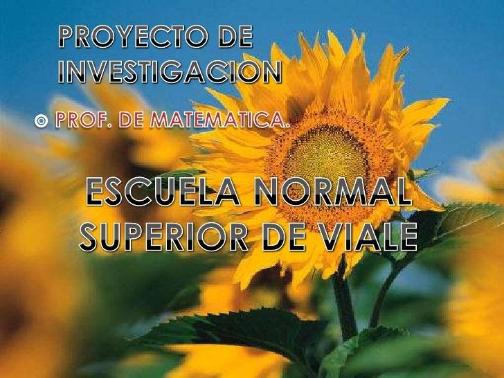 PROYECTO DE INVESTIGACION<br />PROF. DE MATEMATICA.<br />ESCUELA NORMAL SUPERIOR DE VIALE<br />