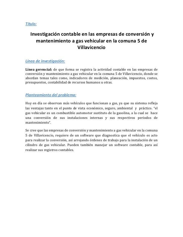 Título:   Investigación contable en las empresas de conversión y      mantenimiento a gas vehicular en la comuna 5 de     ...