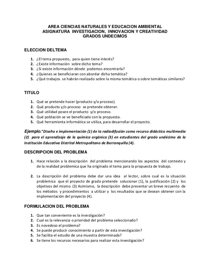AREA CIENCIAS NATURALES Y EDUCACION AMBIENTAL<br />ASIGNATURA  INVESTIGACION,  INNOVACION Y CREATIVIDAD<br />GRADOS UNDECI...