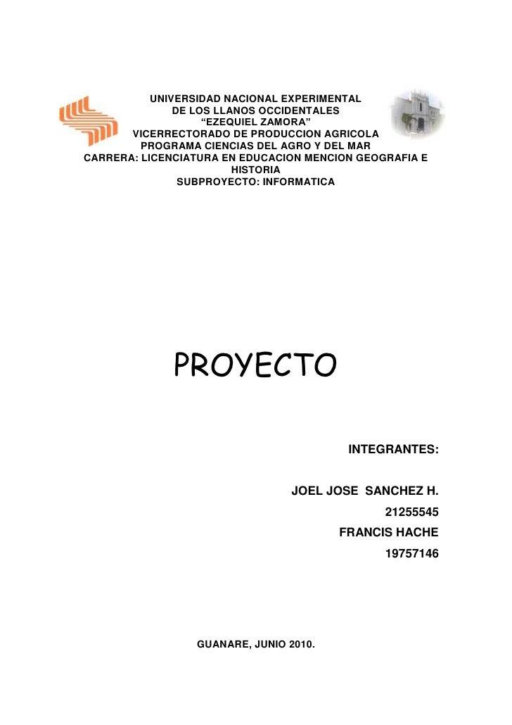 """UNIVERSIDAD NACIONAL EXPERIMENTAL                DE LOS LLANOS OCCIDENTALES                     """"EZEQUIEL ZAMORA""""        V..."""
