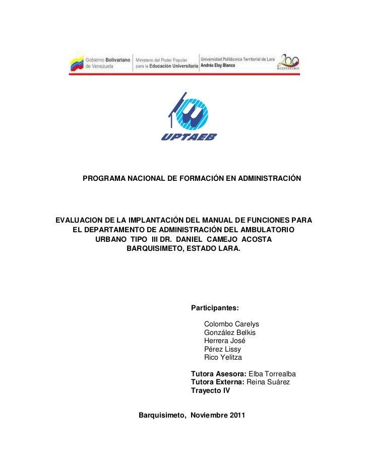 PROGRAMA NACIONAL DE FORMACIÓN EN ADMINISTRACIÓNEVALUACION DE LA IMPLANTACIÓN DEL MANUAL DE FUNCIONES PARA    EL DEPARTAME...