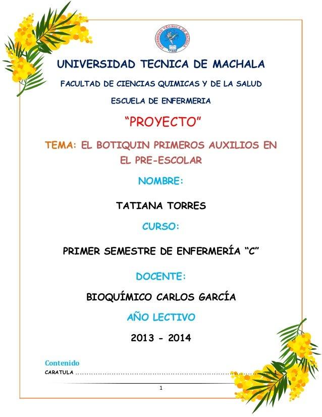 Proyecto del botiquin for Proyecto de cafeteria escolar