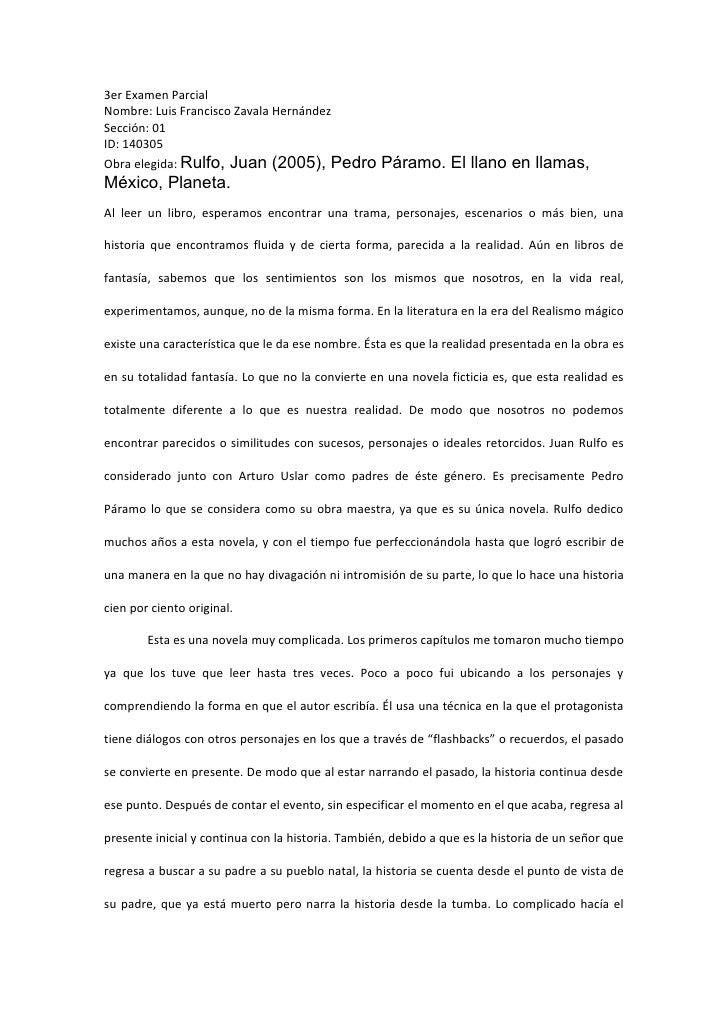 3er Examen Parcial Nombre: Luis Francisco Zavala Hernández Sección: 01 ID: 140305 Obra elegida: Rulfo, Juan (2005), Pedro ...