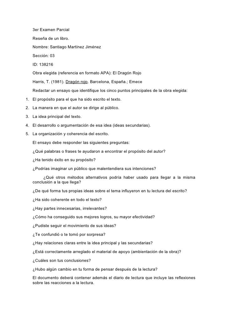 3er Examen Parcial     Reseña de un libro.     Nombre: Santiago Martínez Jiménez     Sección: 03     ID: 138216     Obra e...