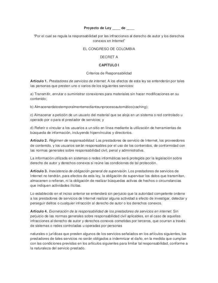"""Proyecto de Ley ____ de ____  """"Por el cual se regula la responsabilidad por las infracciones al derecho de autor y los der..."""