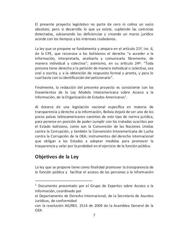 Proyecto de ley transparencia acceso a la informaci n y for Oficina de transparencia y acceso ala informacion
