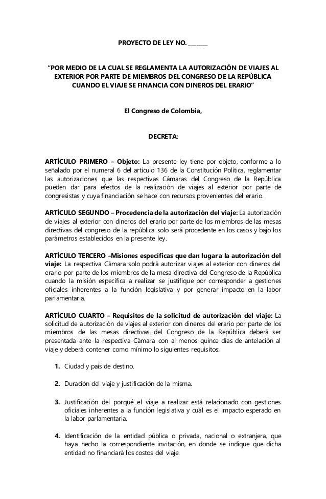 Proyecto De Ley Por Medio De La Cual Se Reglamenta La Autorizaci N D