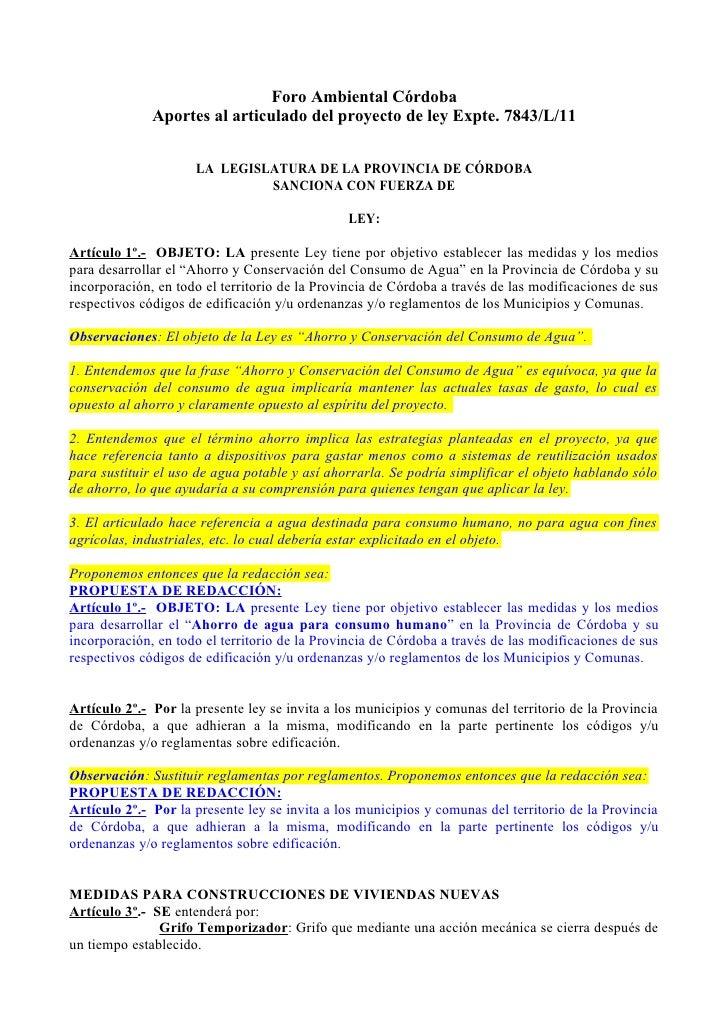 Foro Ambiental Córdoba              Aportes al articulado del proyecto de ley Expte. 7843/L/11                     LA LEGI...