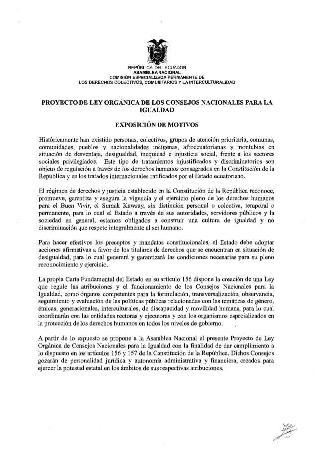 Proyecto de Ley del Consejo Nacional para las Igualdades