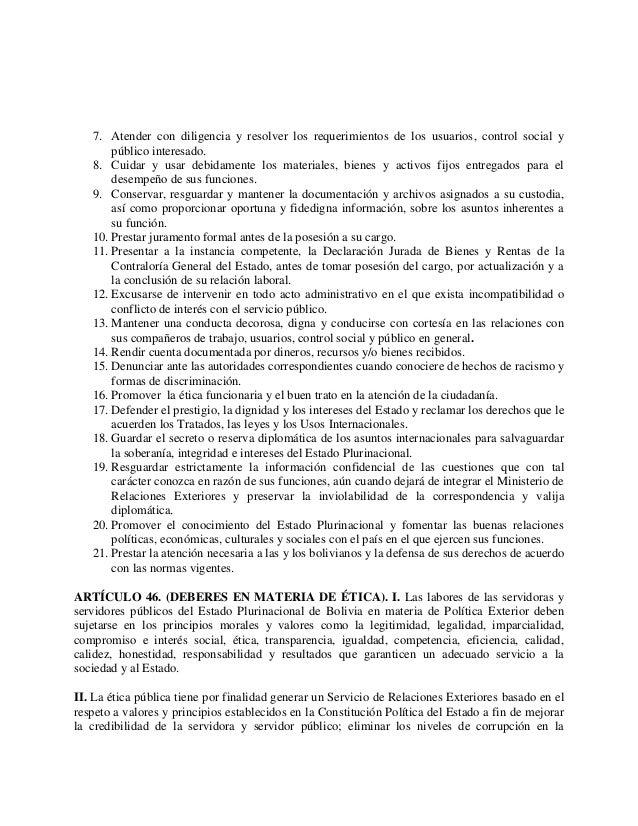 Proyecto De Ley Del Servicio De Relaciones Exteriores