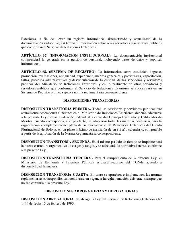 Proyecto de ley del servicio de relaciones exteriores for Registro viajeros ministerio exteriores