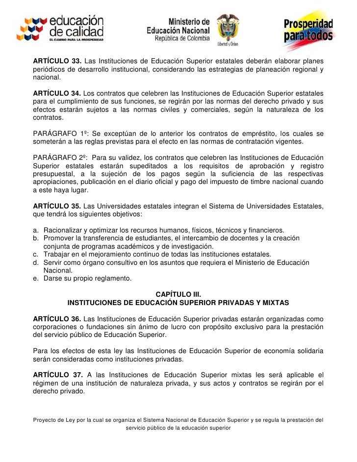 Proyecto De Ley Educacion Superior